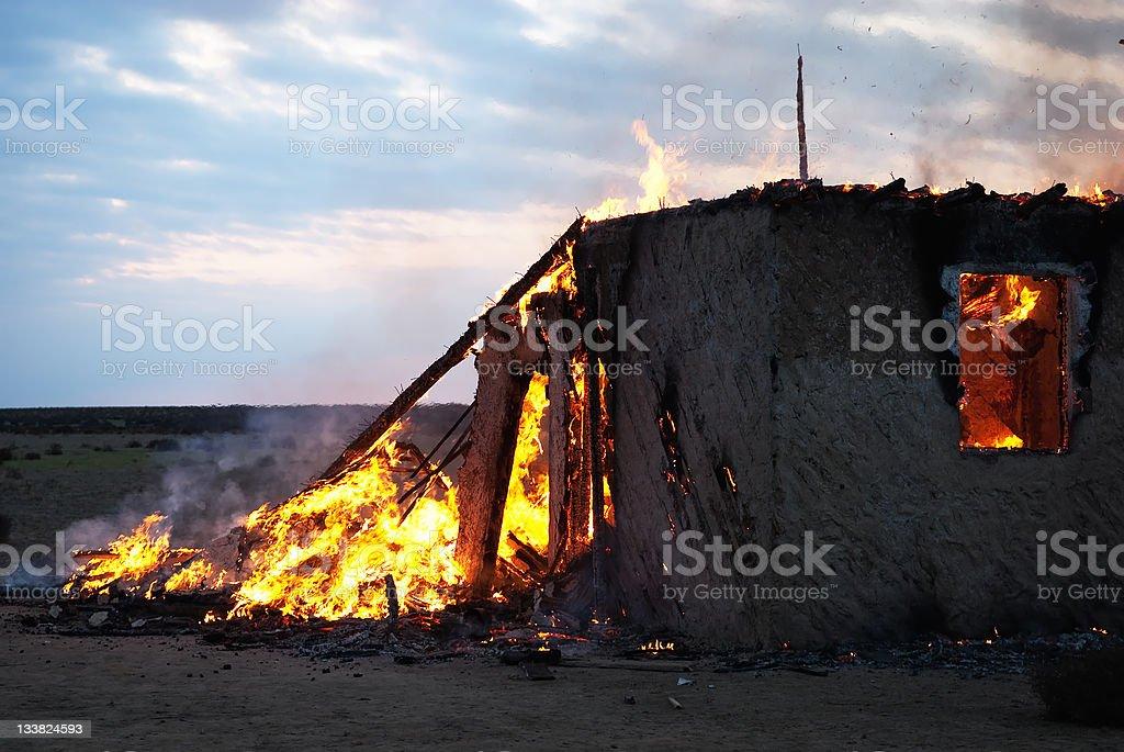 Burning old abandoned house royalty-free stock photo