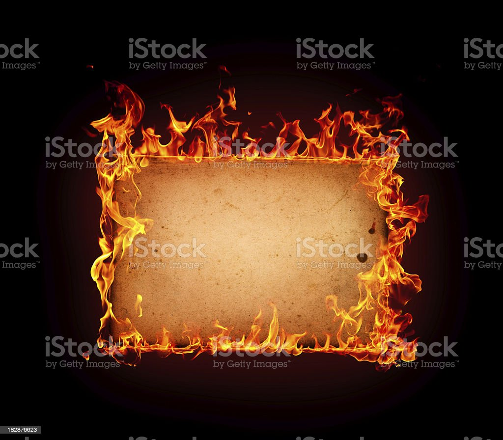 Burning paper. stock photo