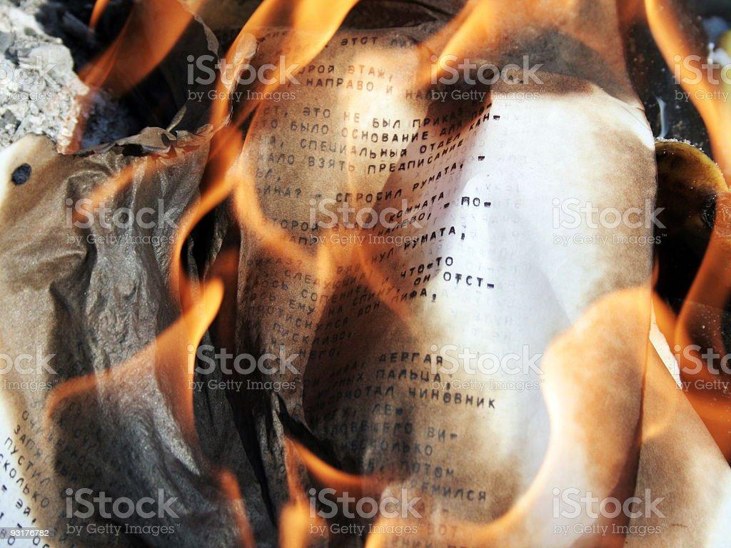 Burning paper royalty-free stock photo
