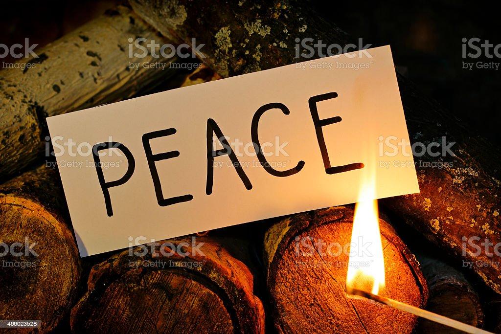 Burning PEACE stock photo