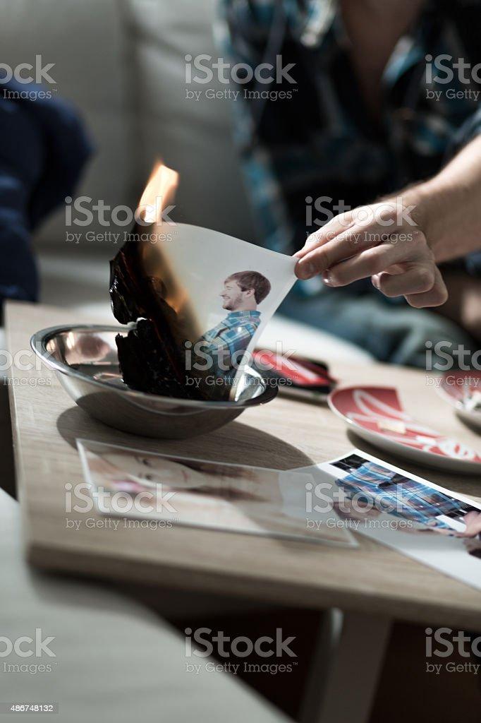 Burning photo after split up stock photo