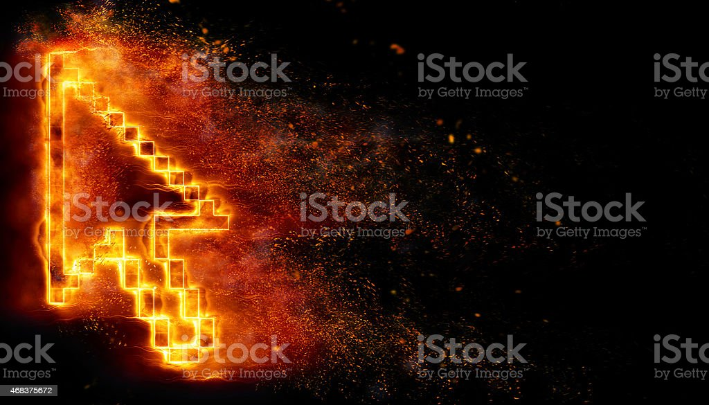 Burning pointer stock photo