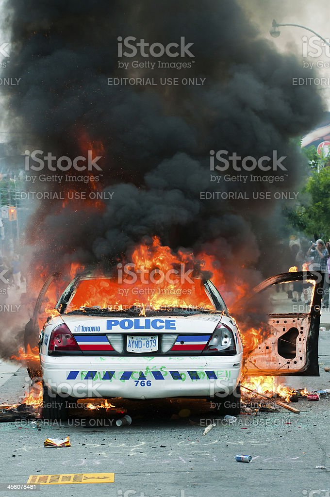 Burning Police Car royalty-free stock photo