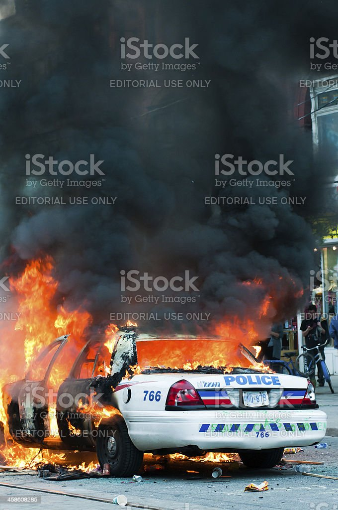 Burning Police Car royalty-free stock photo