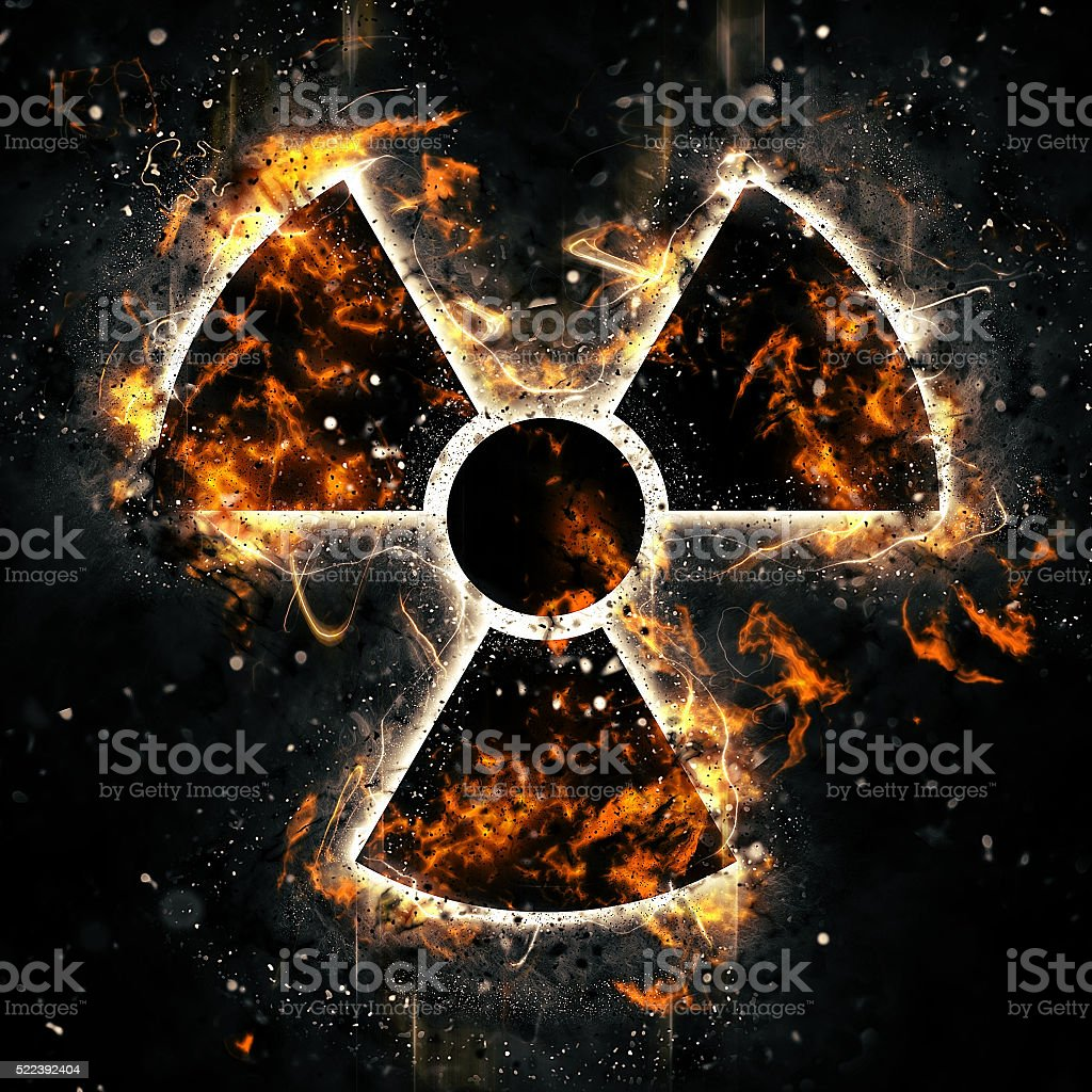 burning radiation hazard sign stock photo