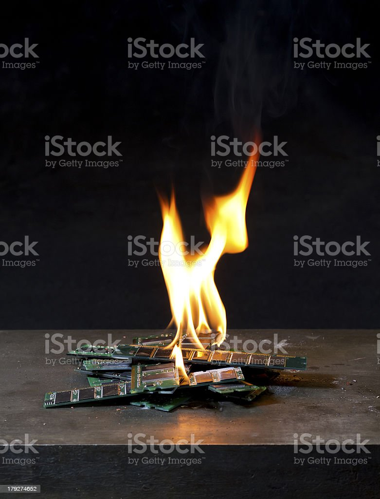 burning ram in black background stock photo