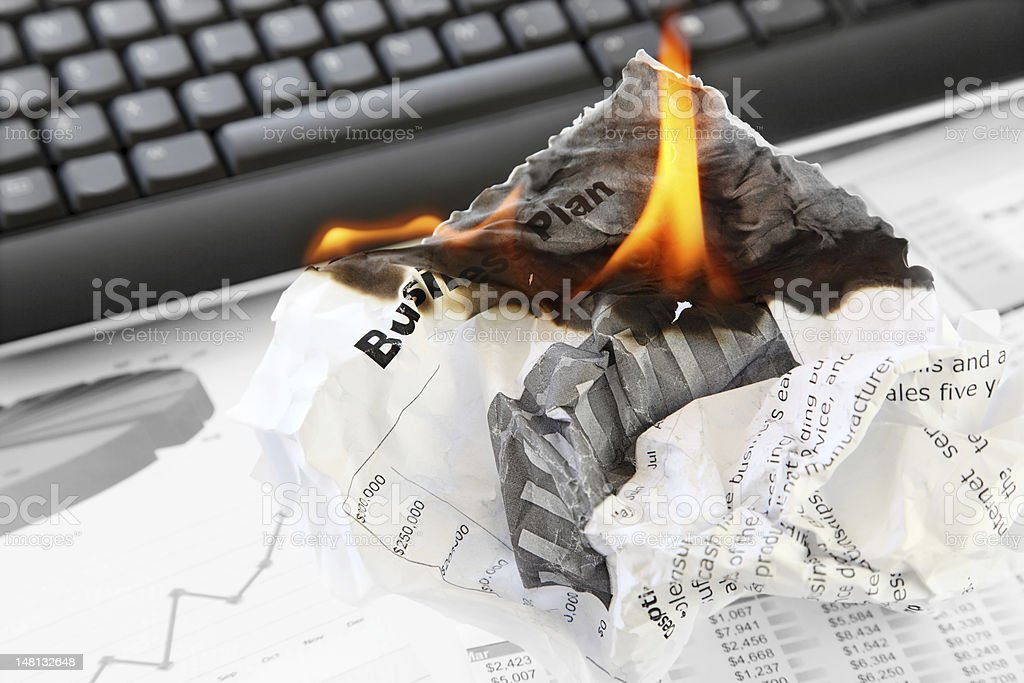 Burning Rejected Business Plan royalty-free stock photo