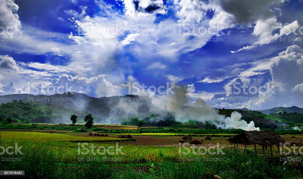 Burning rice fields over foggy mountains in Myanmar stock photo