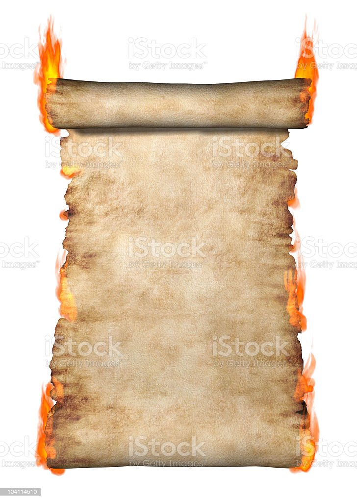 Burning Roll Of Parchment stock photo