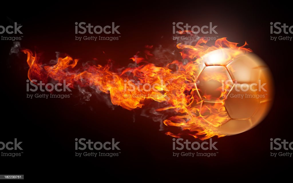 Burning soccer ball royalty-free stock photo
