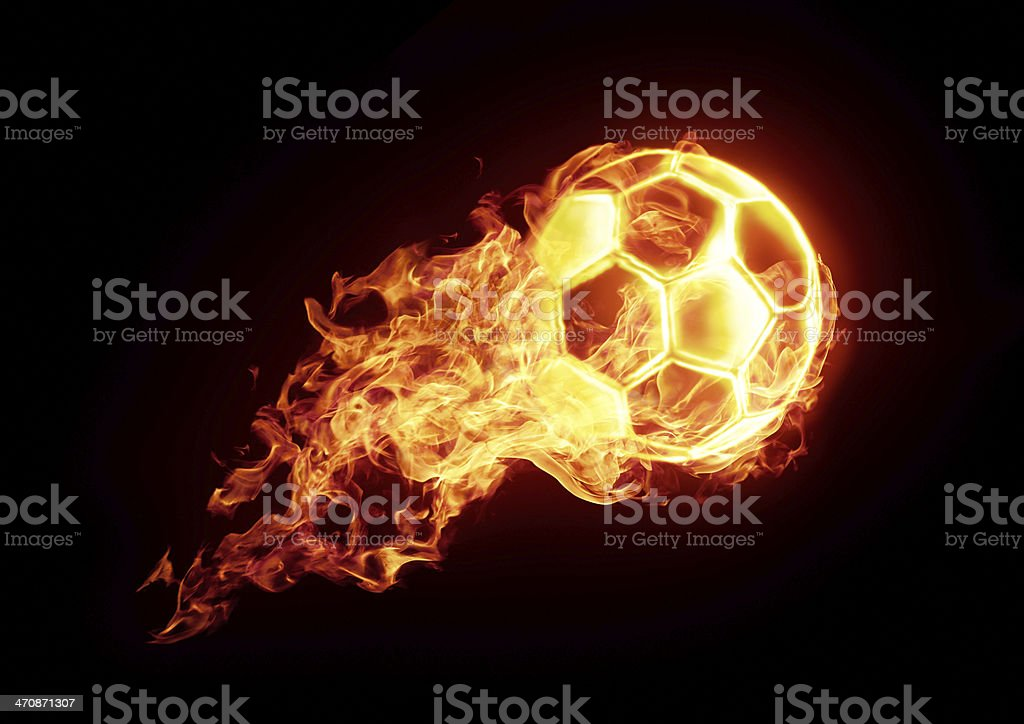 Burning soccer ball stock photo