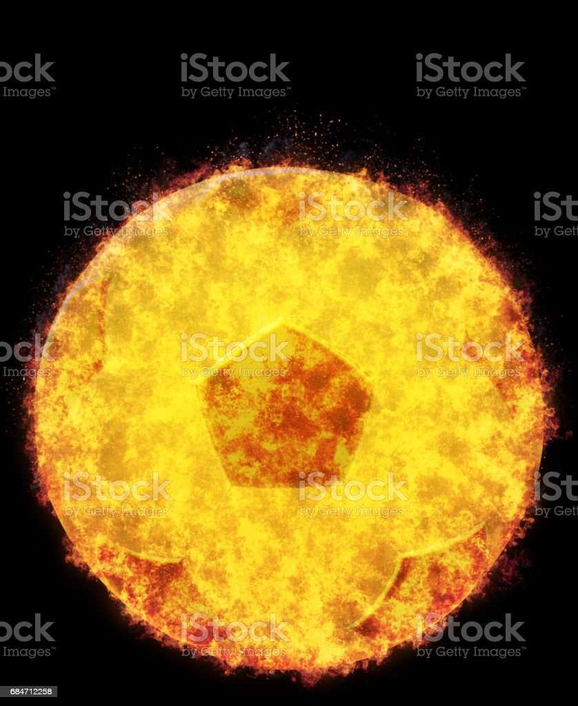 Burning Soccer Ball,bursted into flames, isolated gaianst the black background stock photo