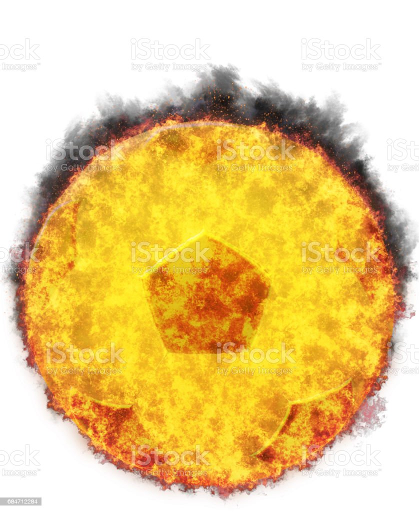 Burning Soccer Ball,bursted into flames, isolated gaianst the white background stock photo