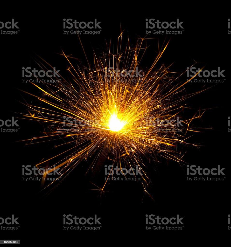 Burning Sparkler Isolated on Black royalty-free stock photo