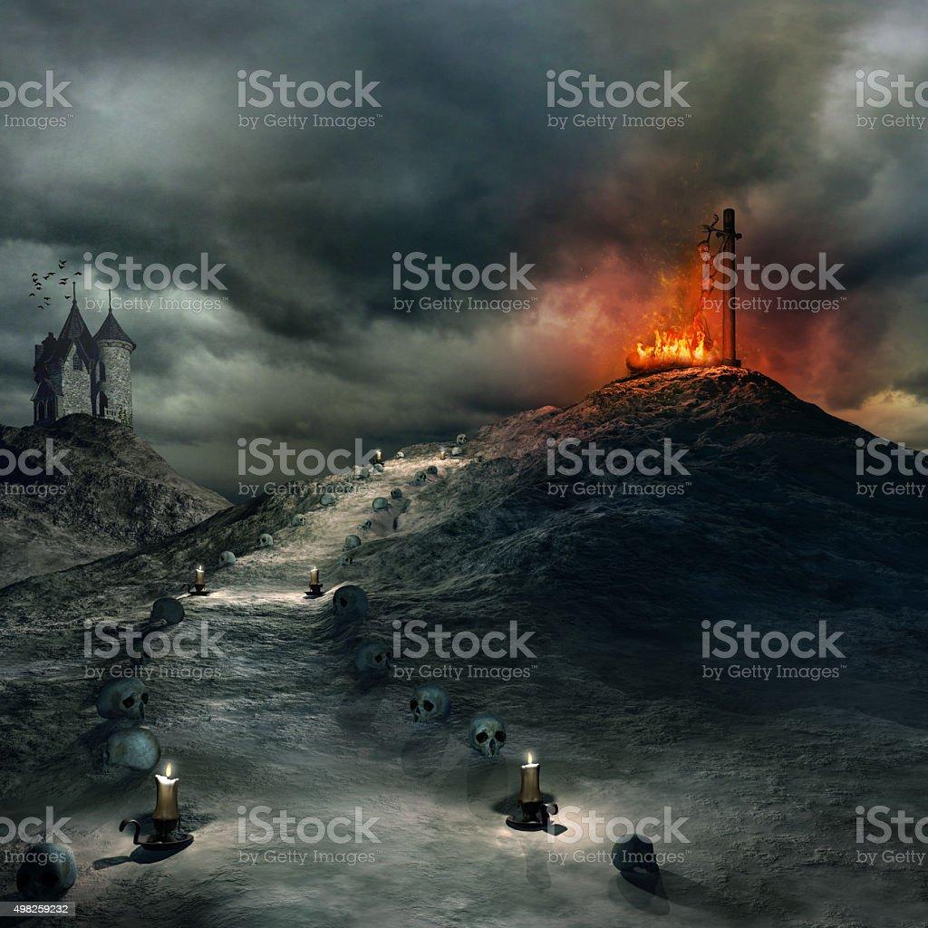Burning stake stock photo