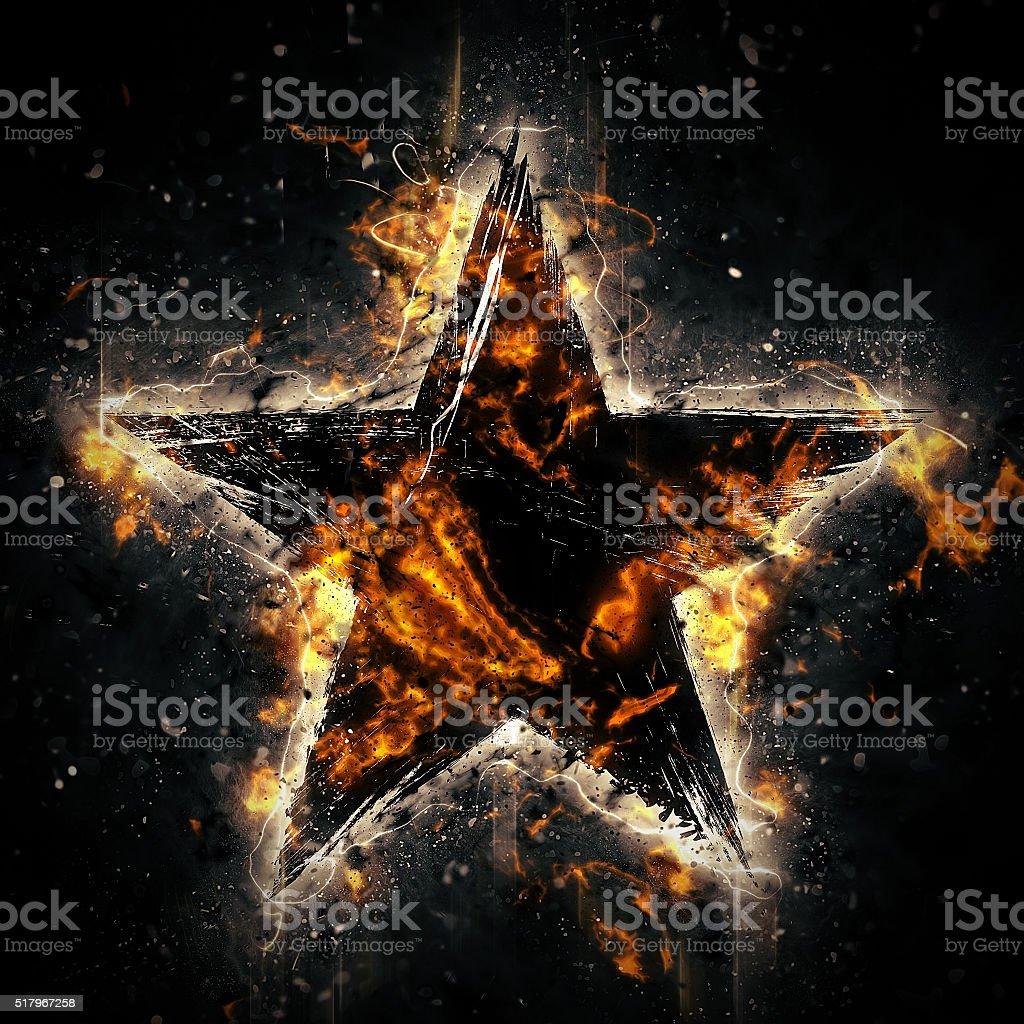 Burning star stock photo