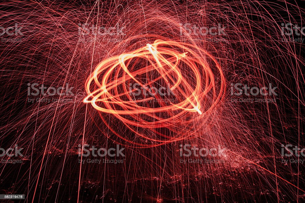 burning steel wool stock photo
