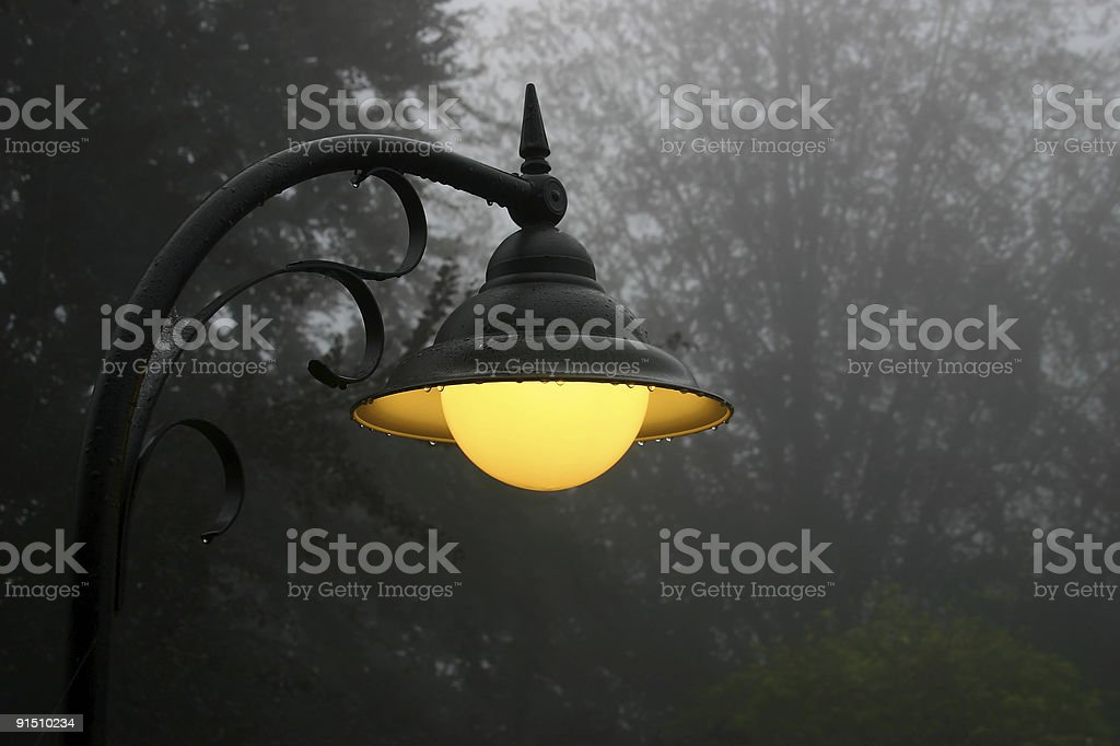 Burning street lamp in the fog royalty-free stock photo