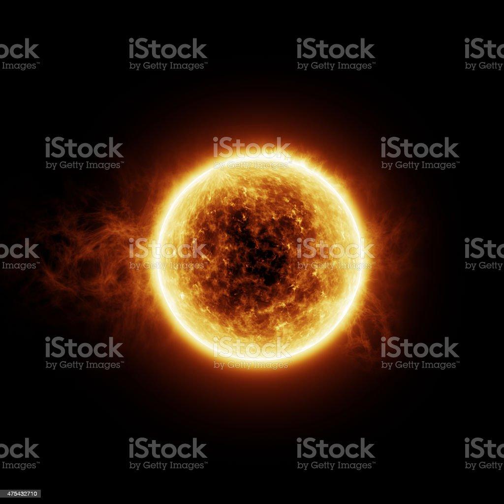 Burning sun with flares stock photo