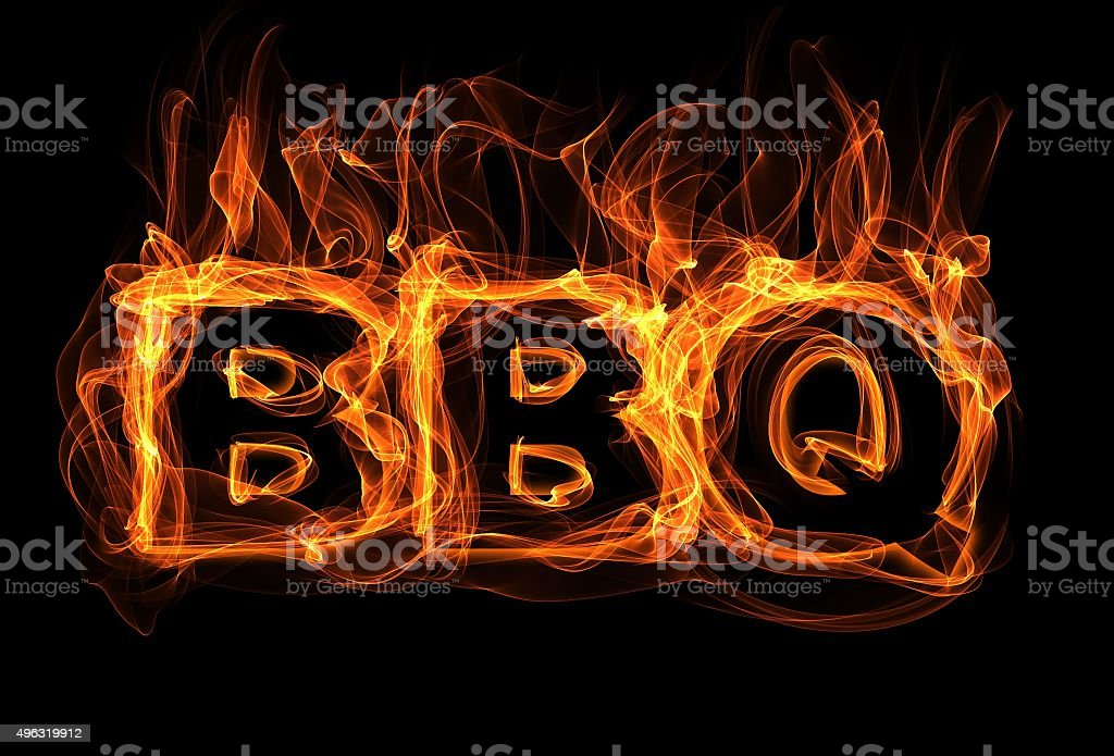Burning text - BBQ stock photo