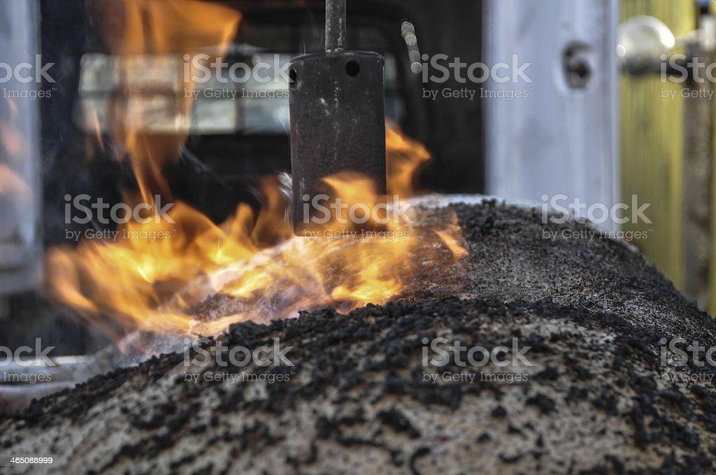 Burning the pig. stock photo