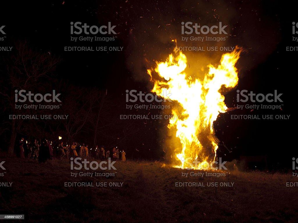 Burning the Wickerman stock photo