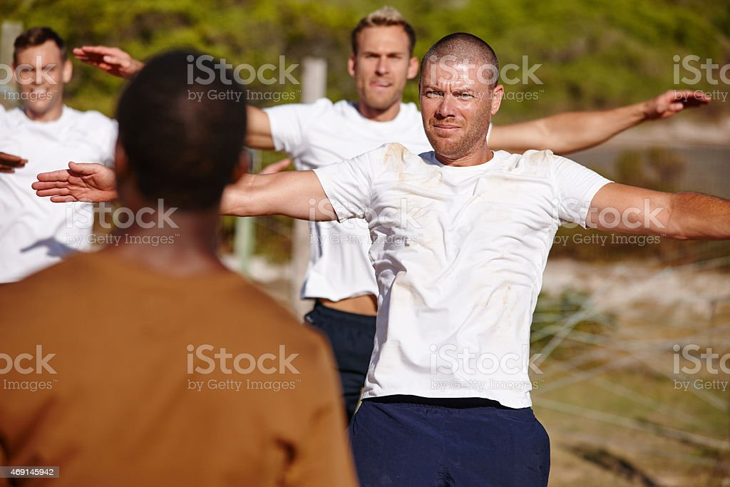 Burning those calories at bootcamp stock photo