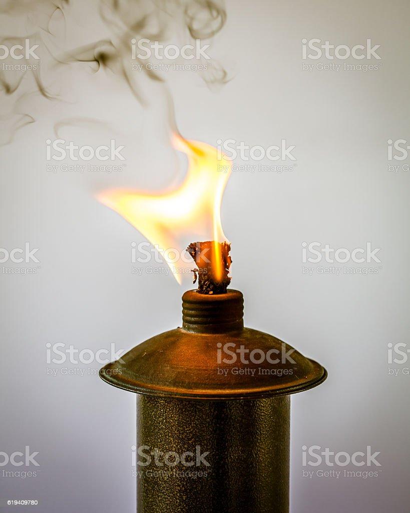 Burning Tiki Torch stock photo