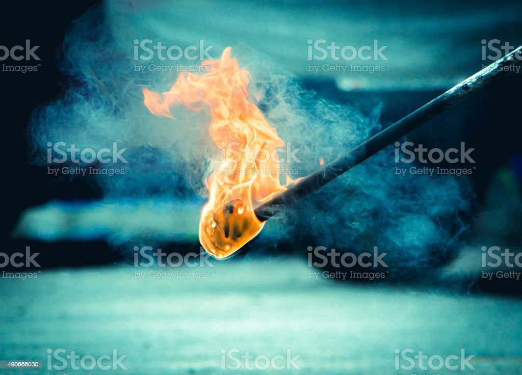 Burning Torch in the Night stock photo