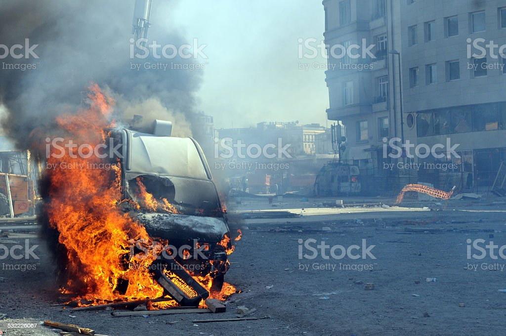 Burning van with large flames and black smoke stock photo