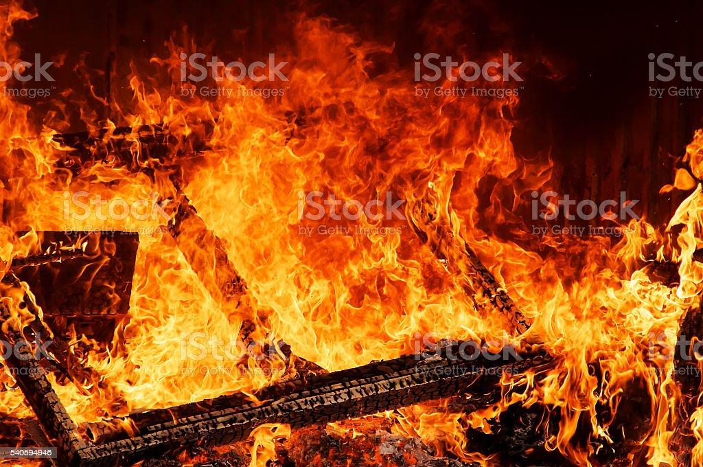 burning warehouse stock photo