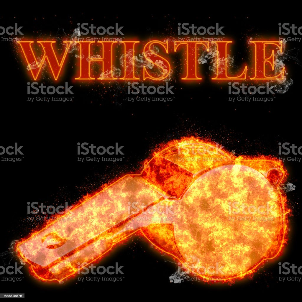 Burning whistle bursted into flames, isolated against the black background stock photo