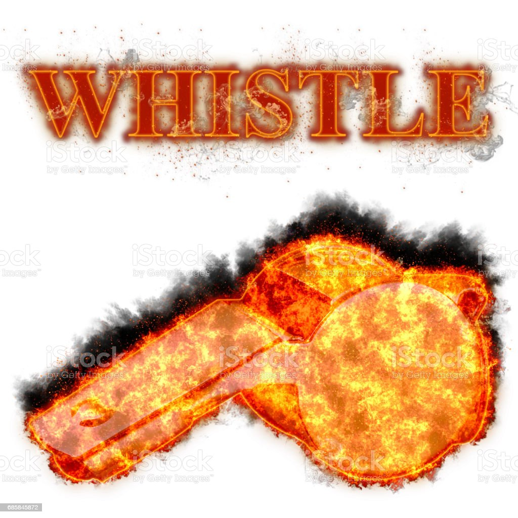 Burning whistle bursted into flames, isolated against the white background stock photo