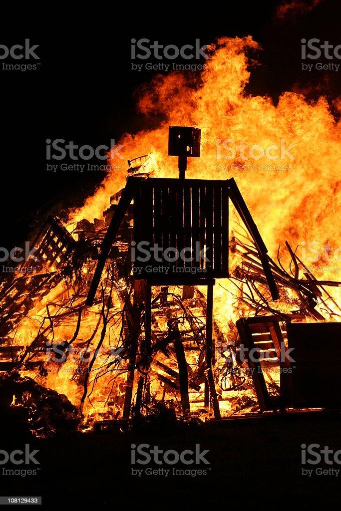 Burning Wicker man stock photo