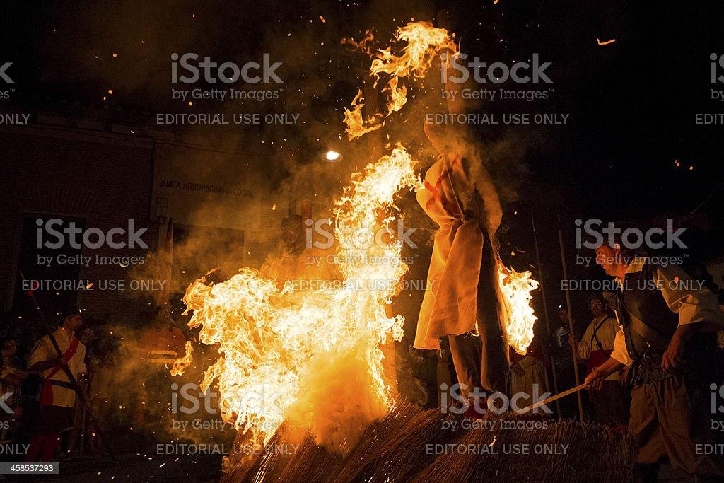 Burning witches stock photo