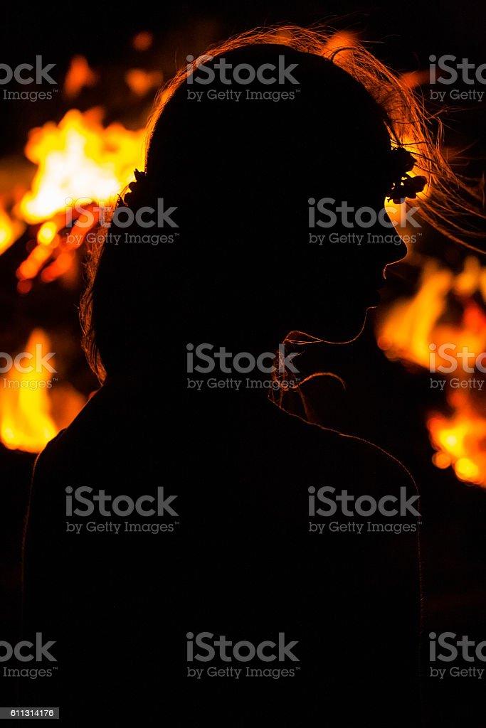 Burning woman stock photo