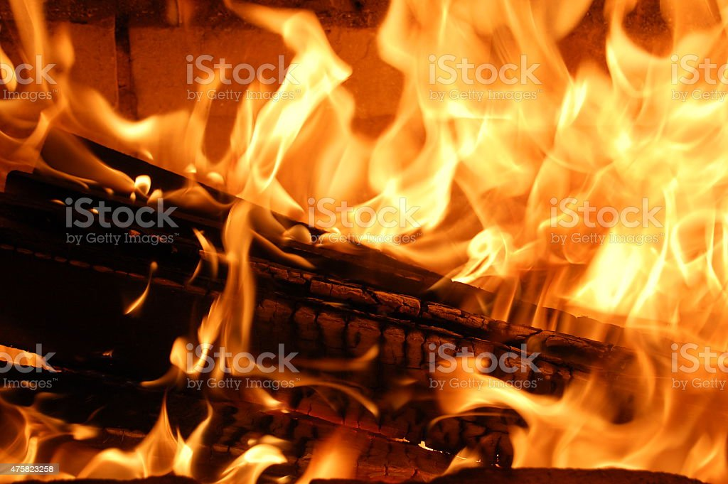 Burning wood in the fireplace. stock photo