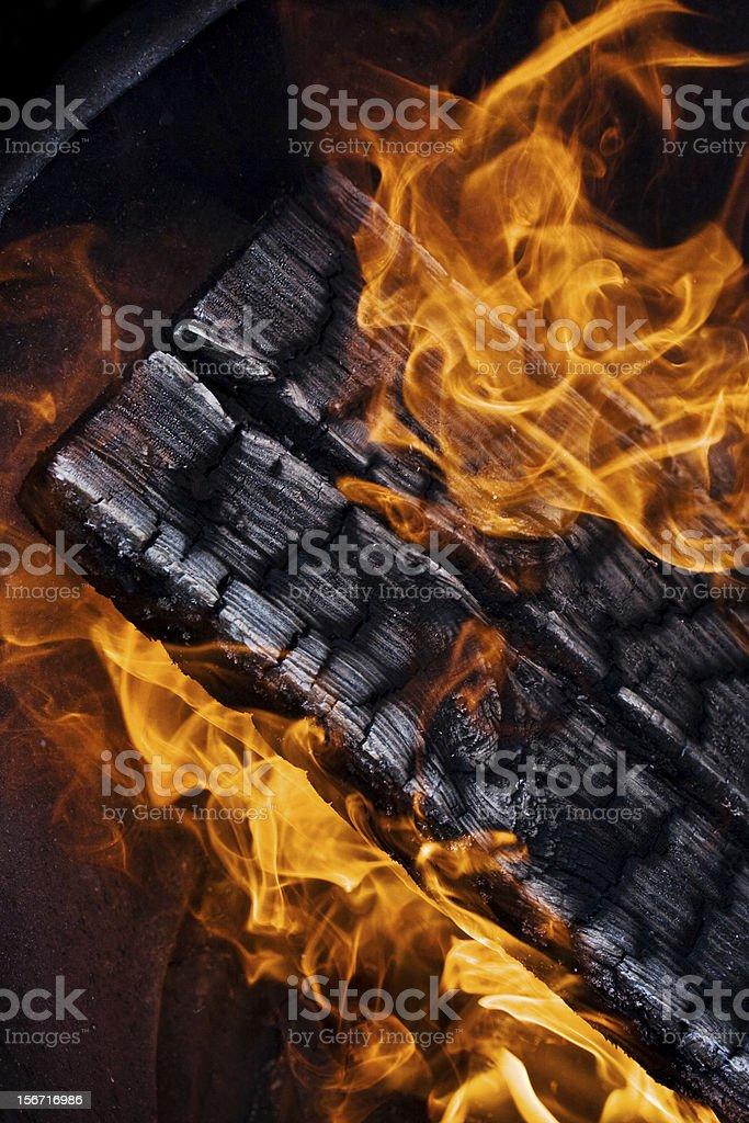 burning wood royalty-free stock photo