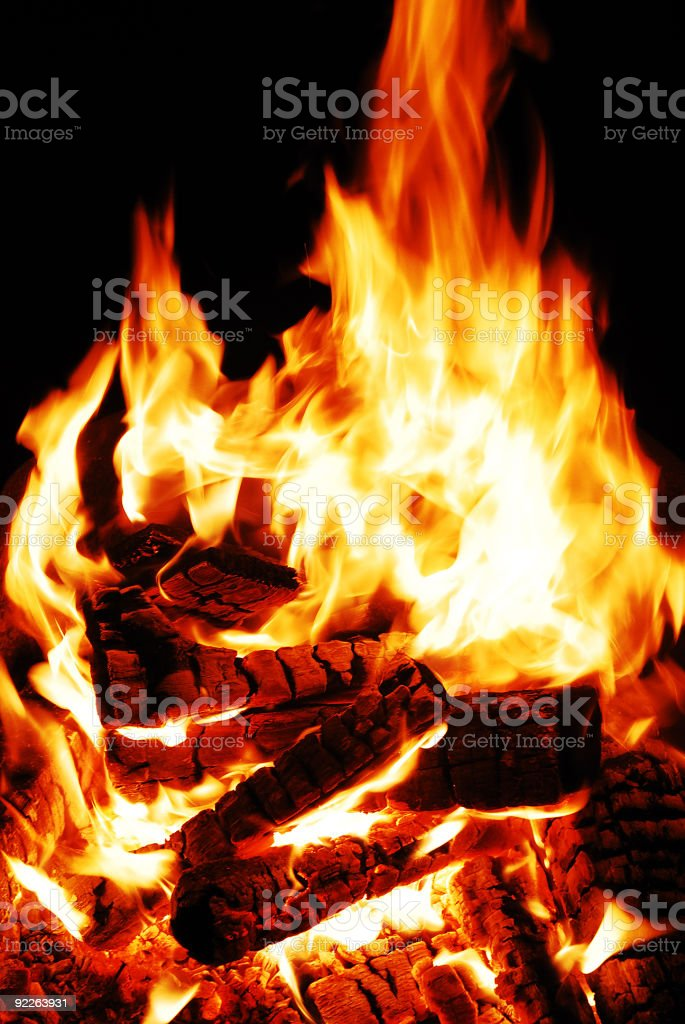 Burning wood royalty-free stock photo