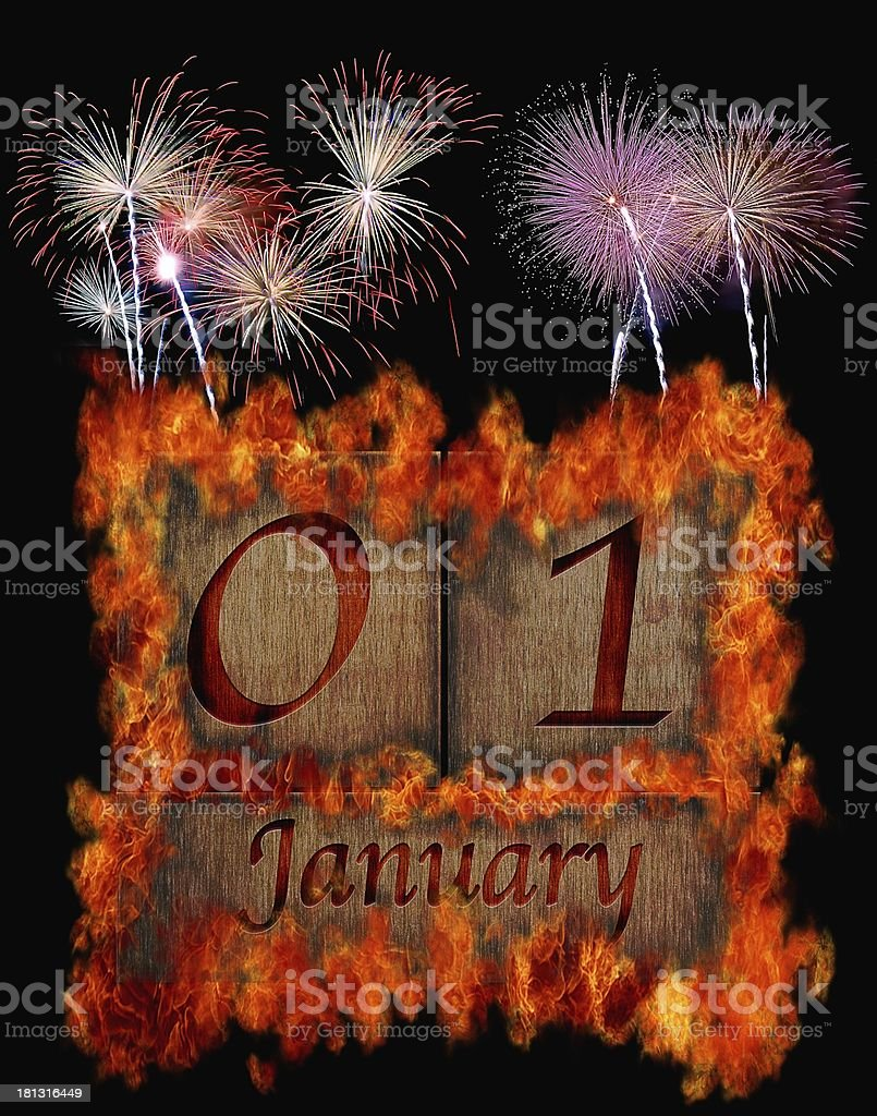 Burning wooden calendar January 1. royalty-free stock photo