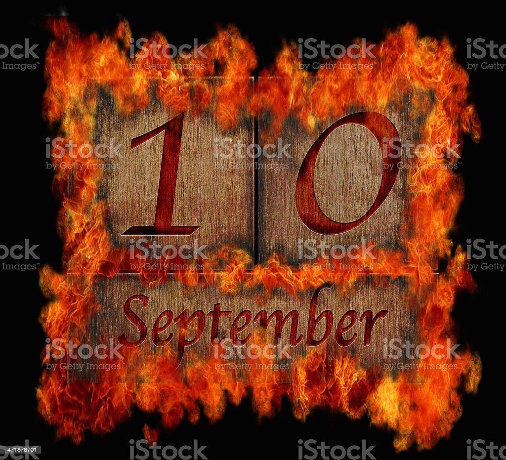 Burning wooden calendar September 10. royalty-free stock photo