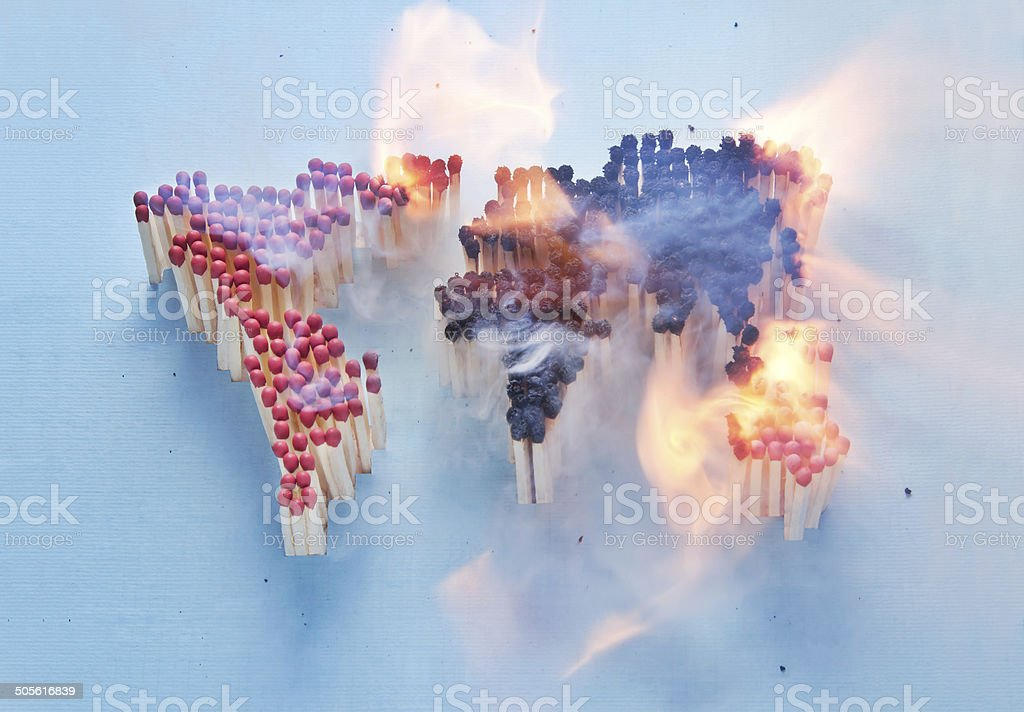 Burning world stock photo