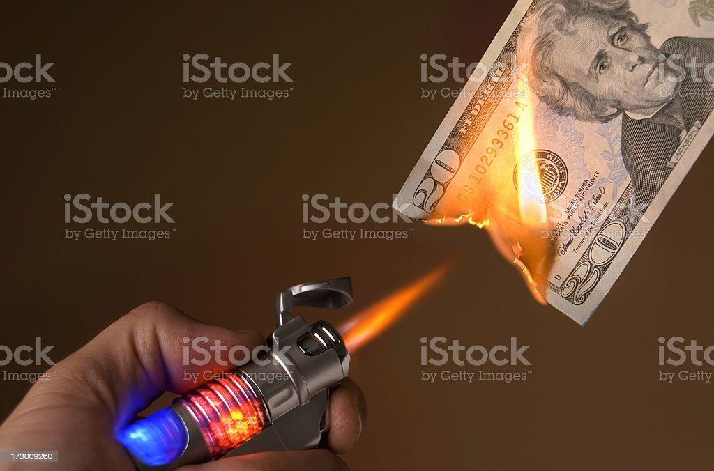 Burning Your Money stock photo
