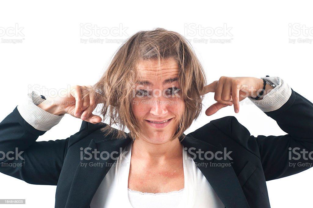 burnout causacian girl portrait in business suit royalty-free stock photo