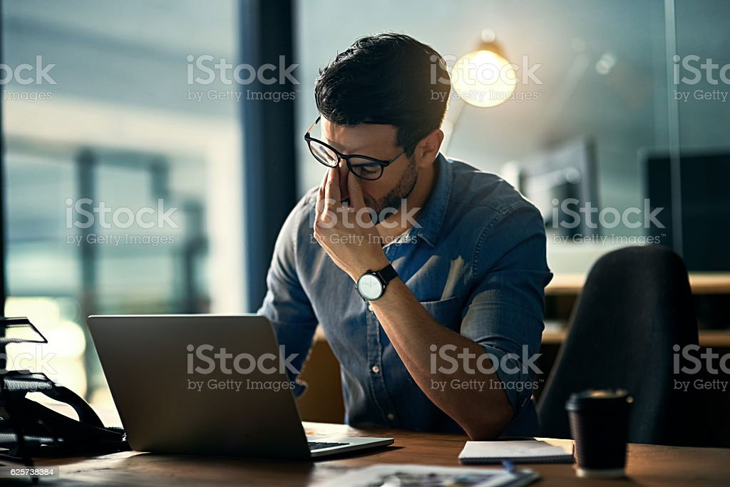 Burnout is killing his career stock photo