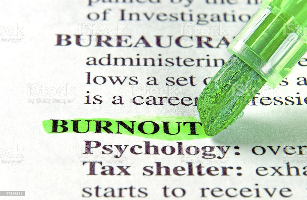 burnout word definition highligted in dictionary stock photo