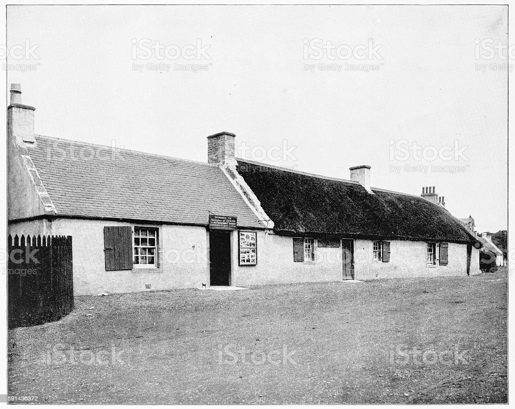 Burn's Cottage, Scotland in 1880s stock photo