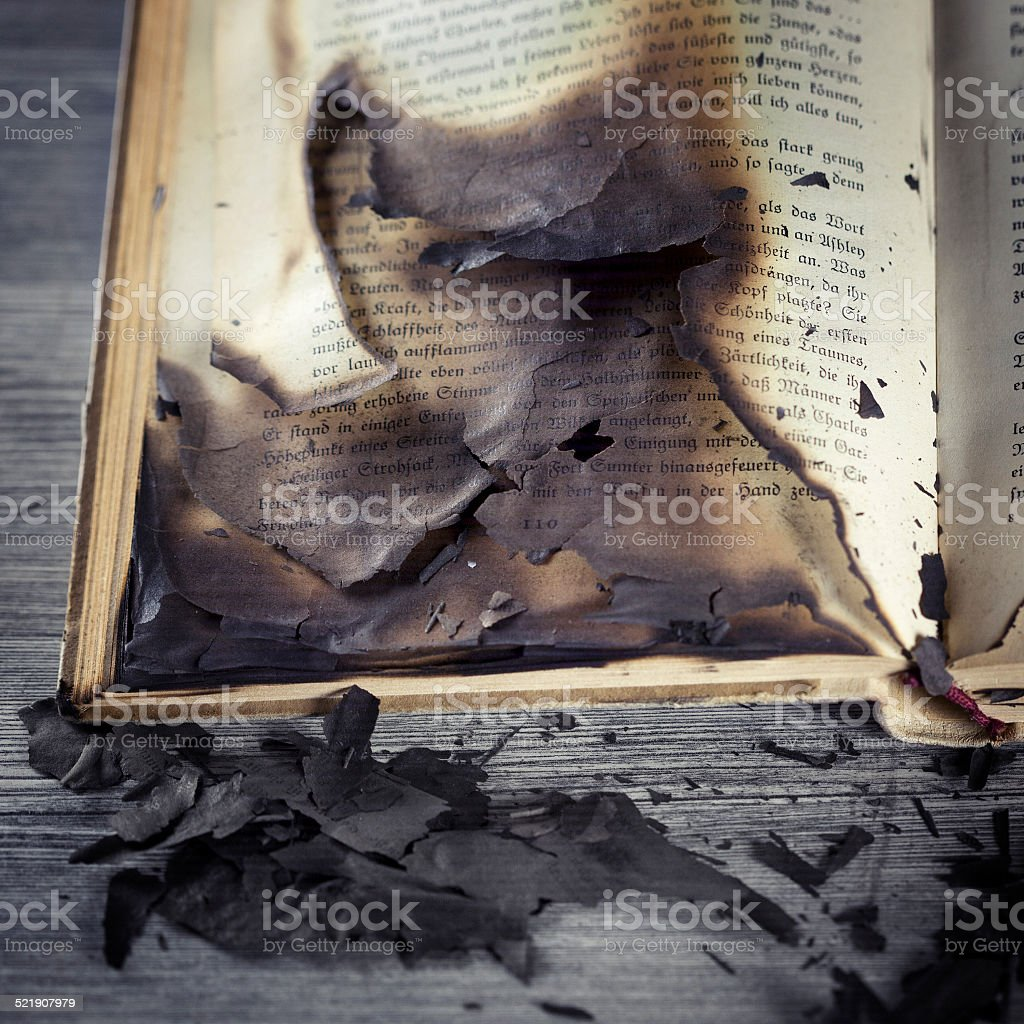 Burnt antique book stock photo
