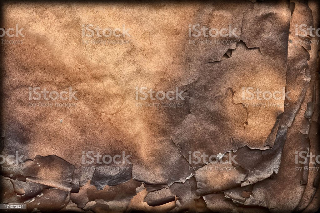 Burnt Brown Paper Vignette Grunge Texture stock photo