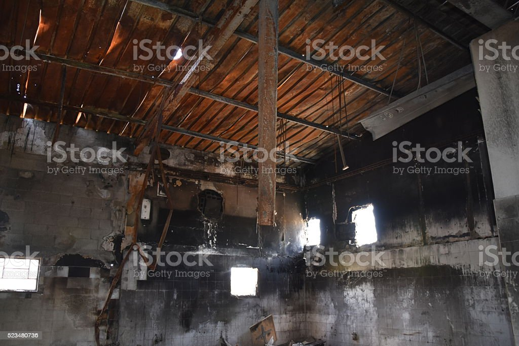 Burnt building stock photo